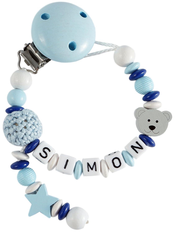 perfektes Baby-Geschenk zur Geburt und Taufe verschiedene Designs verf/ügbar Design1 Personalisierte Schnullerkette mit Namen aus Holz f/ür Jungen in Blau