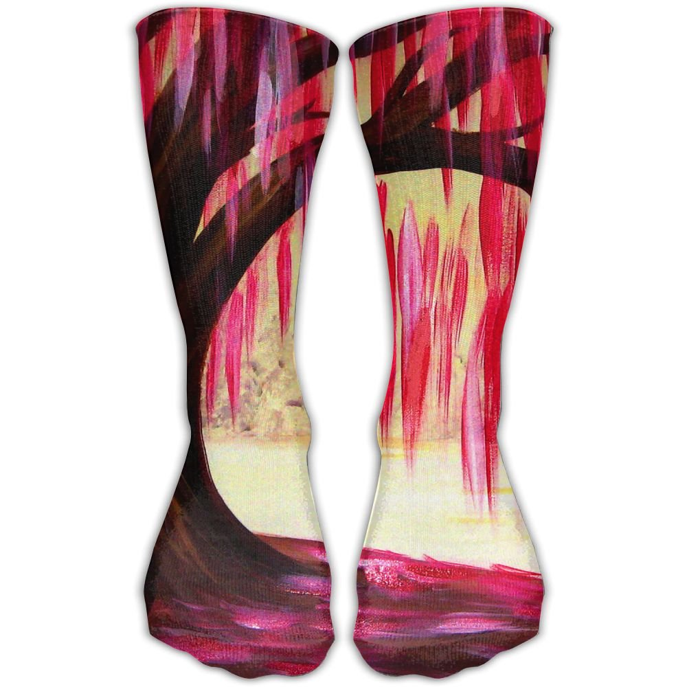 Protect Wrist For Cycling Moisture Control Elastic Sock Tube Socks Red Tree Painting Athletic Soccer Socks