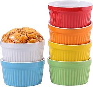 Hompiks Ramekins 8 oz Oven Safe Souffle Ramekin Souffle Dishes for Creme Brulee Baking Lava Cake Set of 6 Colorful