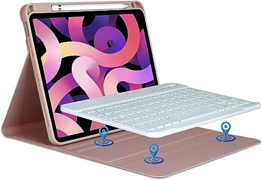 Funda teclado iPad 10.9 2020, teclado italiano Bluetooth inalámbrico desmontable para iPad Air 4th Gen 10.9 2020/iPad Pro 11 pulgadas 2018 con funda ...