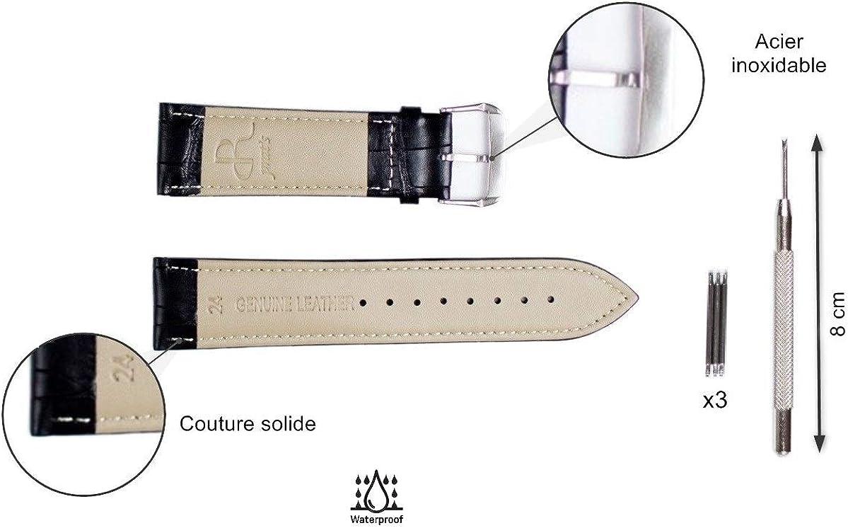 Bracelet de Montre en Cuir, Noir, Marron Clair, Marron foncé, Bracelet Montre Cuir Remplacement Motif Crocodile, Boucle Acier Inoxydable pour Montre Homme Femme 16 mm 18 mm 20 mm 22mm 24 mm Noir