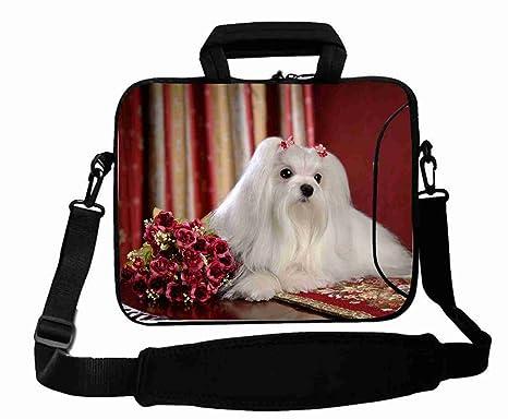 Personalizado con (Animal Perro Maltés) correas de bolsa de ordenador portátil (desmontable)