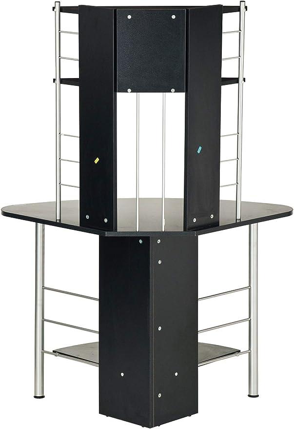 SixBros. Mesa de Ordenador Mesa Angular Negro B-1010/60: Amazon.es ...