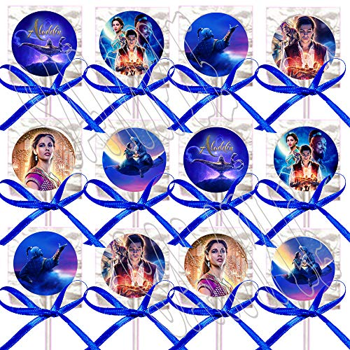 Aladdin Movie Lollipops Party Favors Decorations w/ Purple Ribbon Bows Party Favors -12 pcs, Alladin Princess Jasmine Jafar Genie Magic Lamp]()