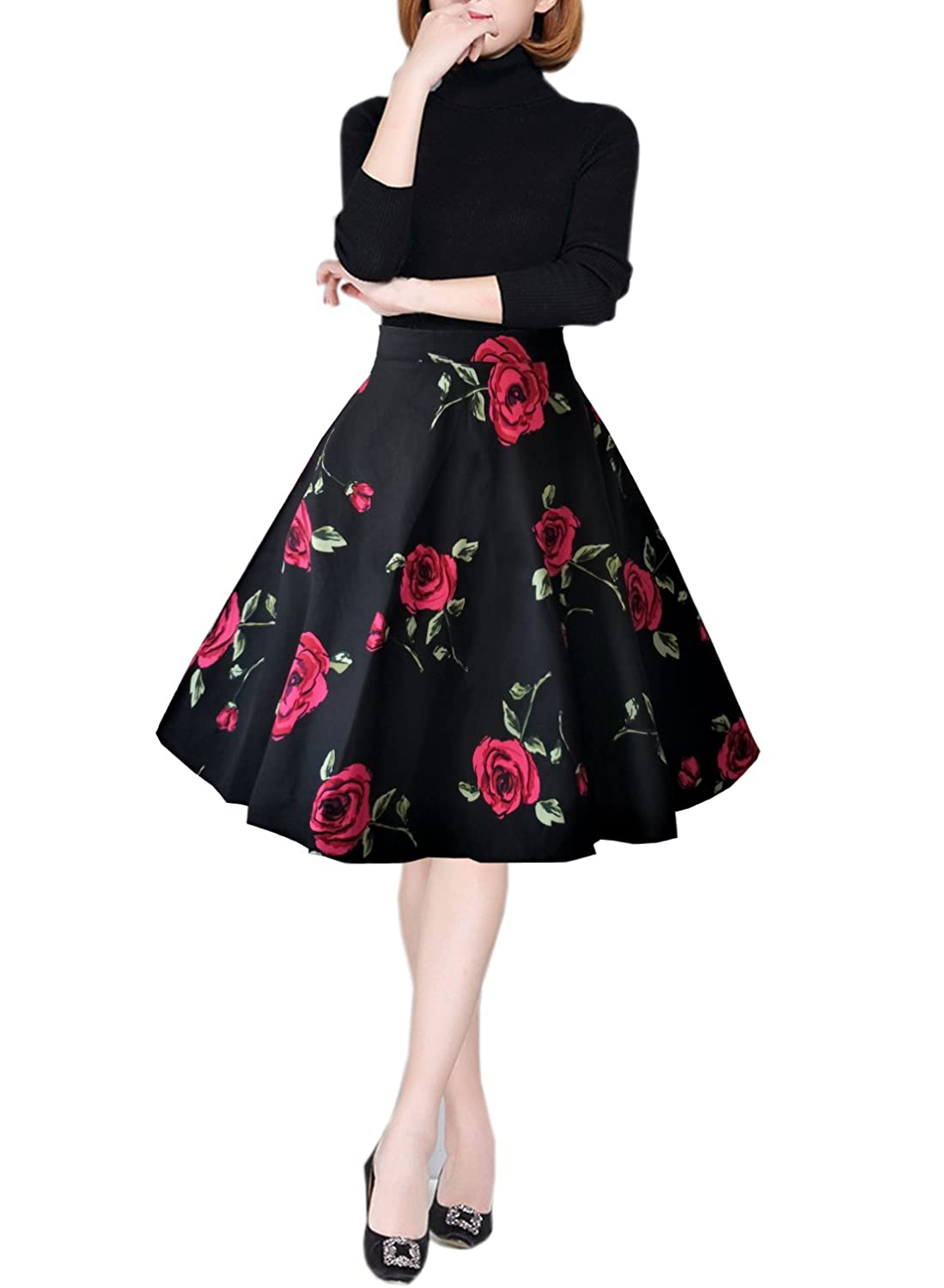Newest Fashion Spring Summer Large Swing High Waist Skirt Female Printing Long Floral A Line Knee Length Skirt Skirts Bottoms