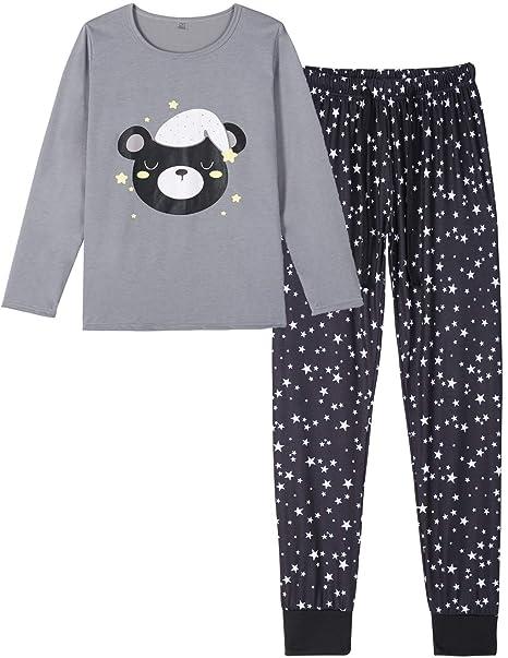 272c2f1af8 HONG HUI Women's Sleepwear Long Sleeve Pajamas Set Plus Size 2 Piece Pjs at  Amazon Women's Clothing store:
