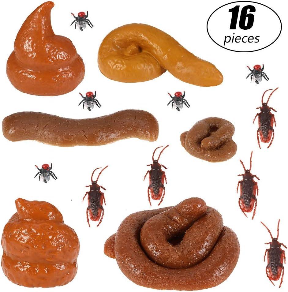 Opopark 16 Piezas Juguetes de Caca Juguetes de Fiesta del Día de Los Inocentes Juguetes de Parodia de Halloween Juguetes Falsos Poop para Broma