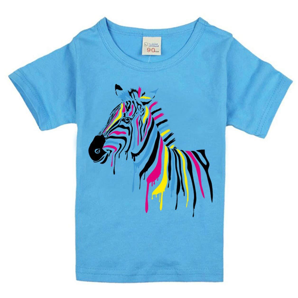 Zebra Childrens T-Shirts 100/% Cotton Summer Short Sleeved Round Neck Unisex T-Shirt 2-14 Years Old