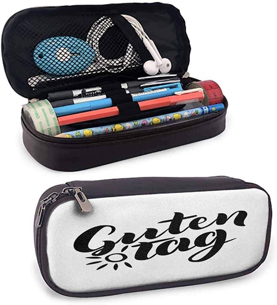 Estuches de lápices alemanes para adultos Guten Tag Quote con letras de mano Ilustración de estilo de caligrafía de moda: Amazon.es: Oficina y papelería