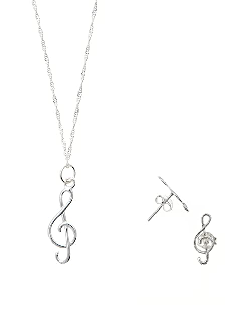 Córdoba Jewels   Conjunto de Gargantilla y Pendientes en Plata de Ley 925. Diseño Clave de Sol