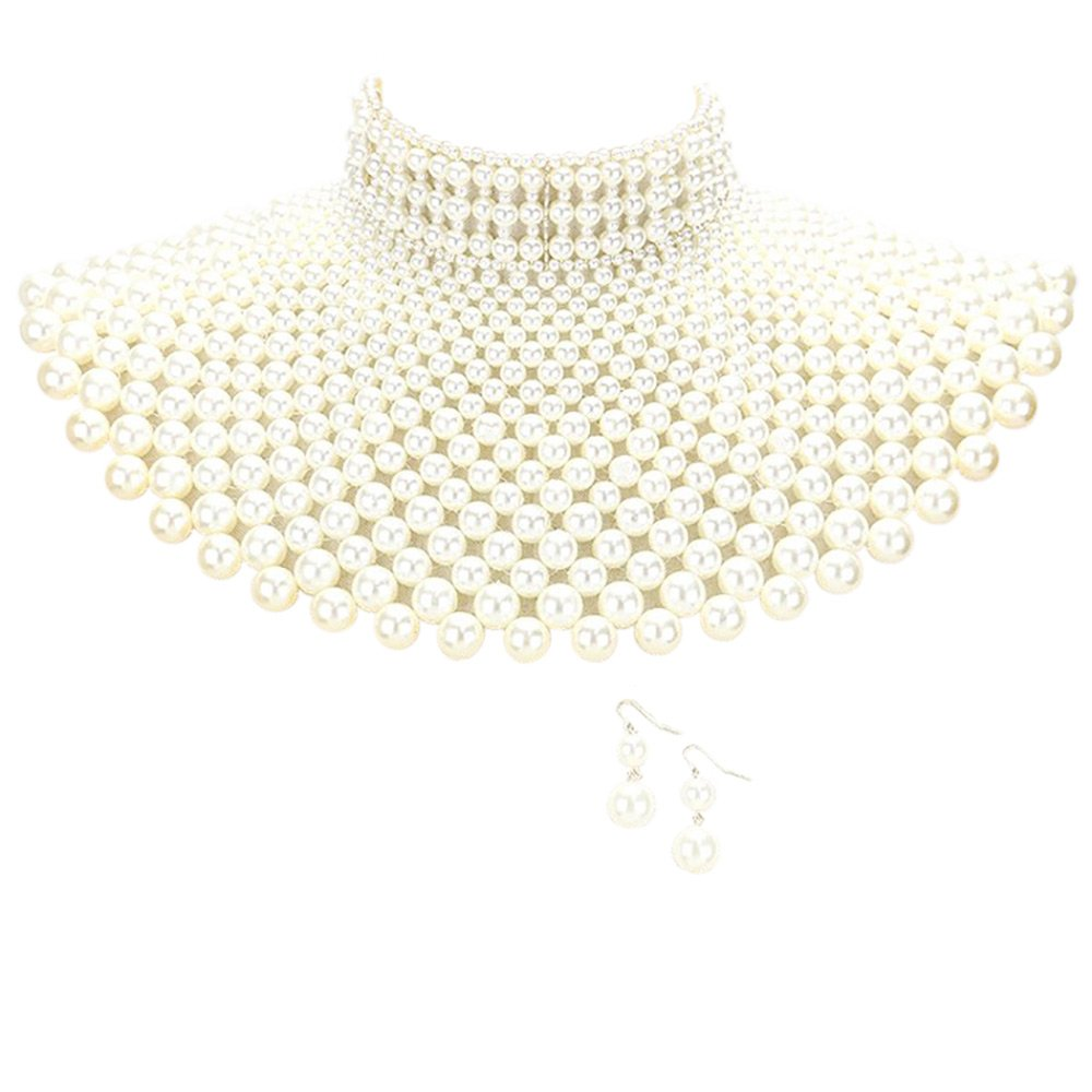 Sensibling Egyptian Pearl Armor Bib Choker Chain Style Statement Necklace and Pearl Earrings Set (Cream)