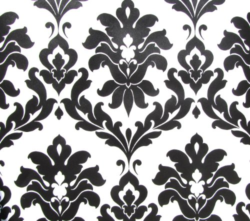 Norwall Black and White Damask Wallpaper VG26230P