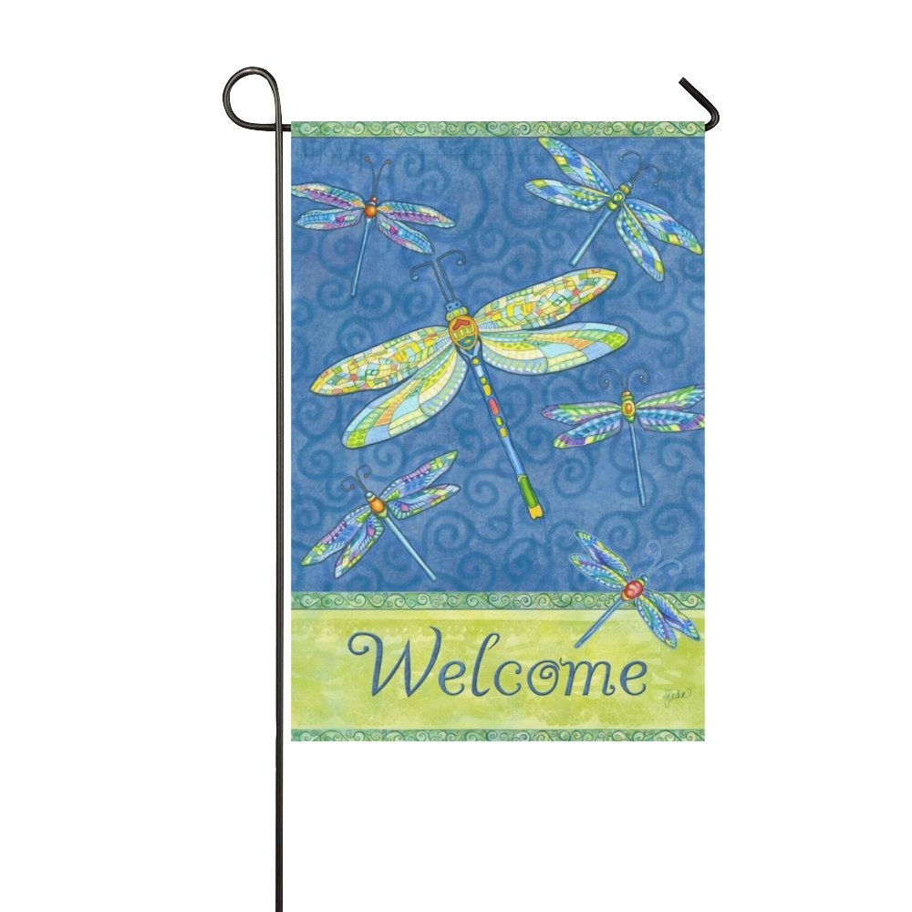 llyaon.iao- Garden Flag Best for Yard Decorations and House Decor, Welcome Dragonflies 12x18in