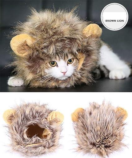 Disfraz De León Melena para Gato Y Perro, Traje De Mascota Traje De Peluca para