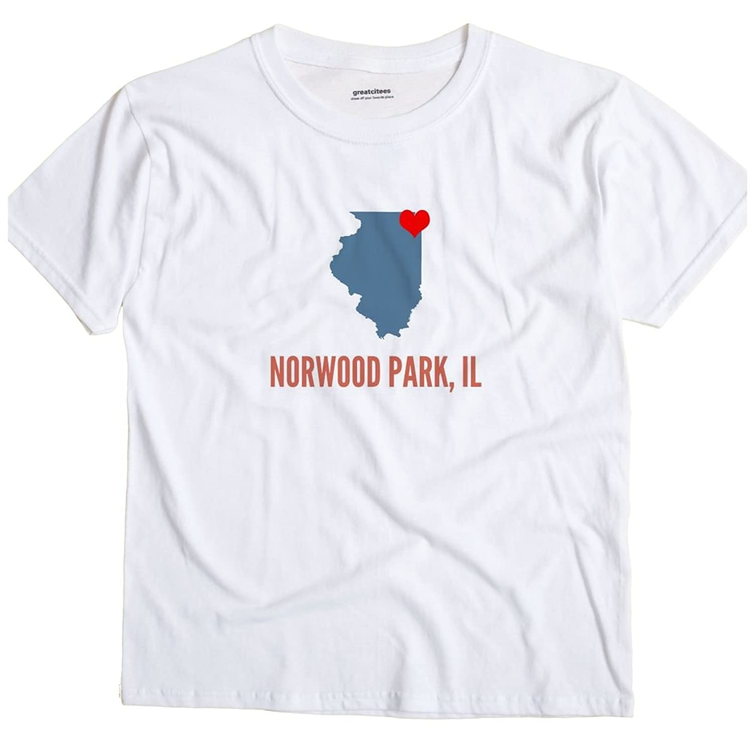 Norwood Park Illinois IL, Neighborhood of Chicago HEART GreatCitees T Shirt