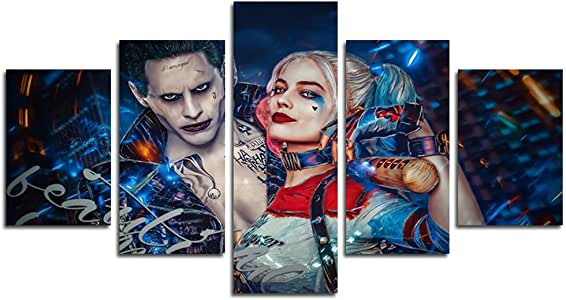 AtfArt 5 Piece Clown and Harley Quinn movie painting for living room home decor Canvas art wall poster (No Frame) Unframed HB63 inch x30 inch