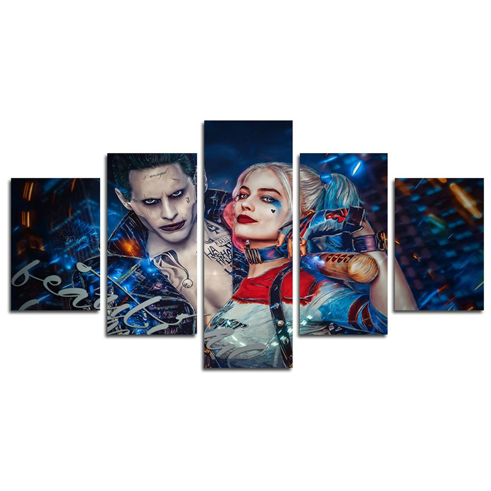 H.COZY5 Piece Clown and Harley Quinn movie painting for living room home decor Canvas art wall poster (No Frame) Unframed SKU-MAX63 inch x30 inch