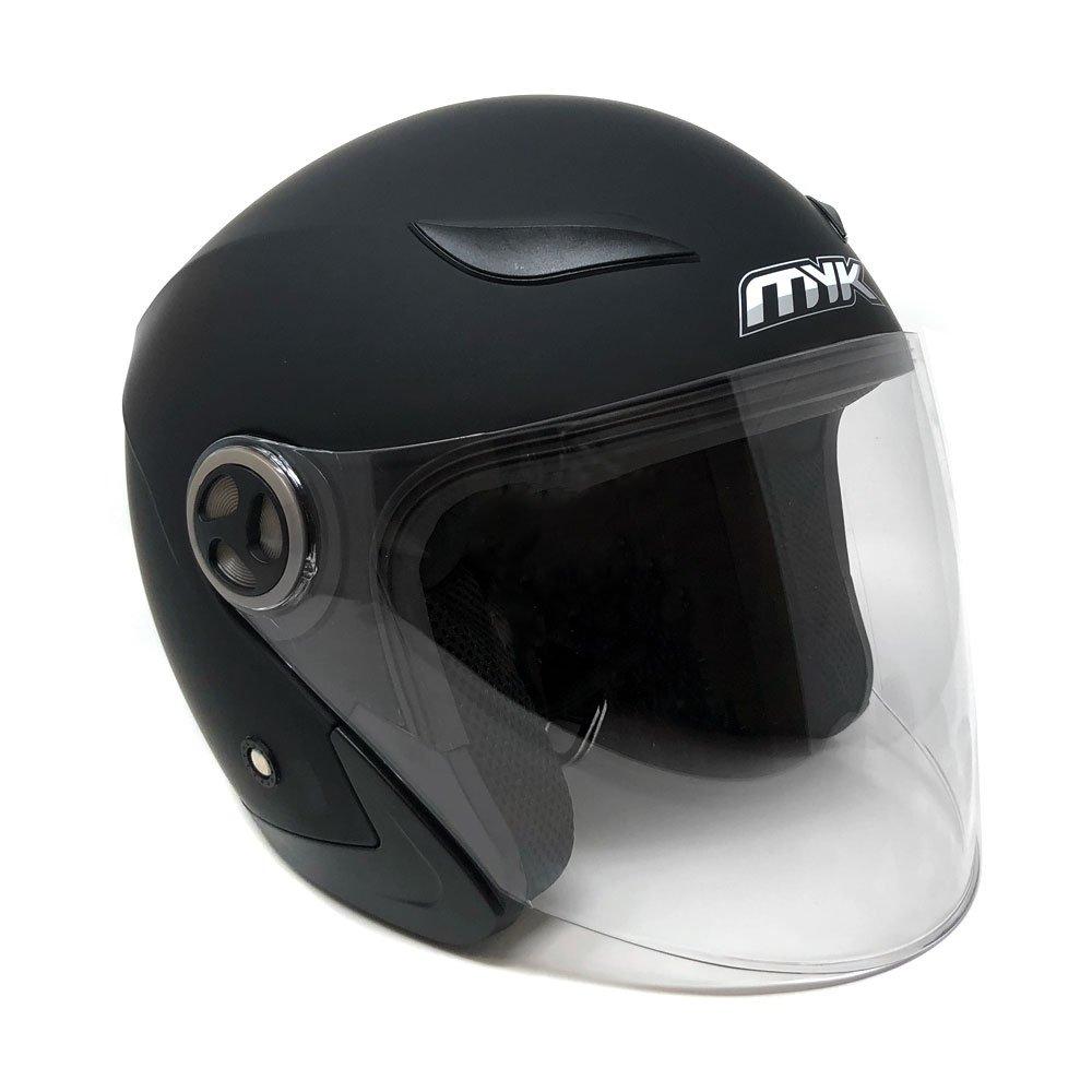 MYK Powersports Helmets Open Face Flip Up Clear Shield - DOT Street Legal – Matte Black (Large) Model 619