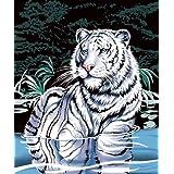 White Tiger in Water, Super Plush Mink Style Queen Size Soft & Warm Blanket