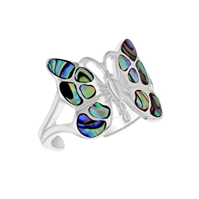Tuscany Silver Abalone Butterfly Adjustable Ring 1mmUSl3g