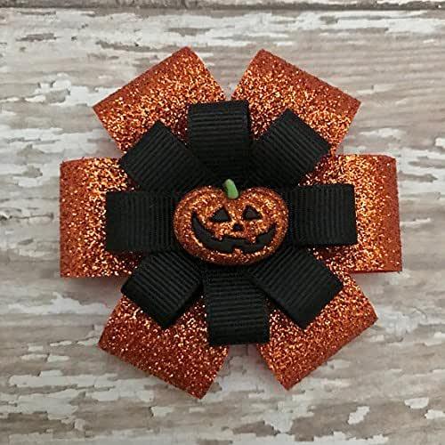 Halloween Bows  Halloween Hair Clip  Pumpkin Bow  Halloween Glitter Bow  Ghost Bow