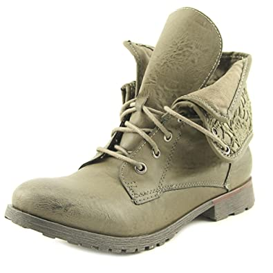 Womens Spraypaint Closed Toe Ankle Combat Boots Lt Tan Size 9.0