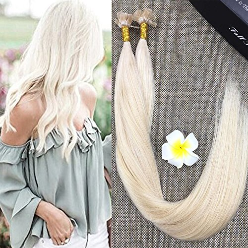 """Full Shine 18"""" Flat Tip 100% Real Human Straight Hair Extension Platinum Blonde Color #60 Fusion Pro Bonded Tip Hair Extensions 0.8g/Strand 40 Gram Per Package"""