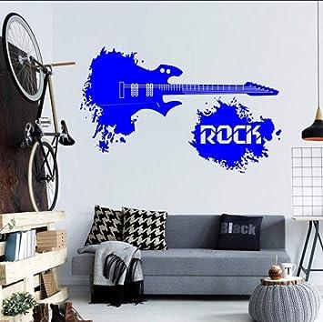 Resumen Guitarra Eléctrica Con Rock Cita En Splash Mundo Etiqueta de La Pared Home Arte Musical Decoración Vinilo Mural de la Pared de Moda Decal 36x57 cm: ...