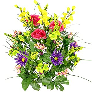 Admired By Nature Artificial Dahlia, Morning Glory & Ranunculus & Blossom Fillers Mixed Bush for Home, Wedding, Restaurant & Office Decoration Arrangement, 30 Stems 67