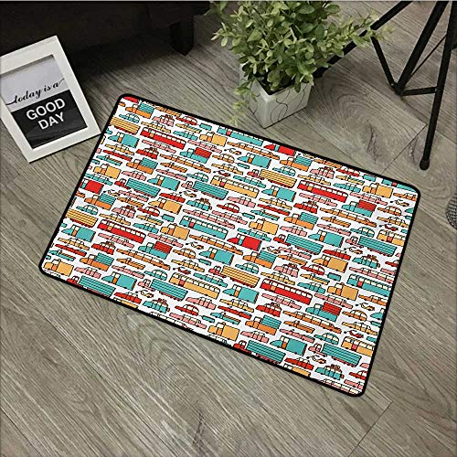 Meeting Room mat W35 x L59 INCH Cars,Children Drawing of Many Vehicles Motorbikes Caravans Trucks Taxis Buses Print,Aqua Red Orange with Non-Slip Backing Door Mat Carpet