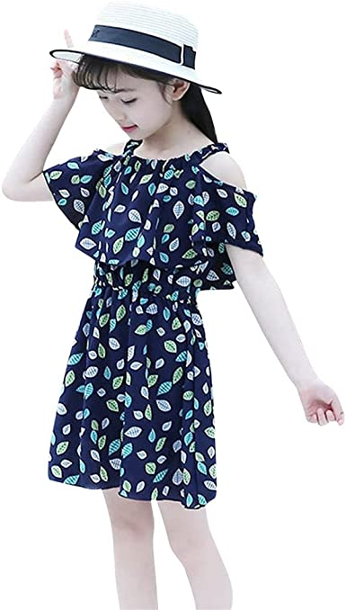 Lurryly Children Infant Girls Letter Embroidery Floral Princess Dress Clothes 1-5 T