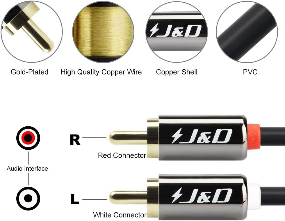 / Heavy/Duty RCA Cable J/&D Gold-Plated 2 RCA Male to 2 RCA Male Stereo Audio Cable 3 Feet 2RCA to 2RCA Cable Copper/Shell