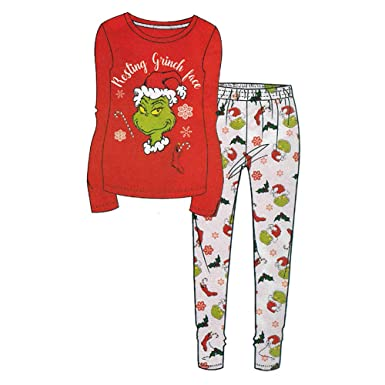 The Grinch Resting Grinch Face Ladies Red Pj Set Uk 20 22 Amazon