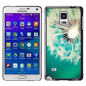 Paccase / SLIM PC / Aliminium Casa Carcasa Funda Case Cover para - Dandelion Teal White Spring Summer - Samsung Galaxy Note 4 SM-N910F SM-N910K SM-N910C SM-N910W8 SM-N910U SM-N910