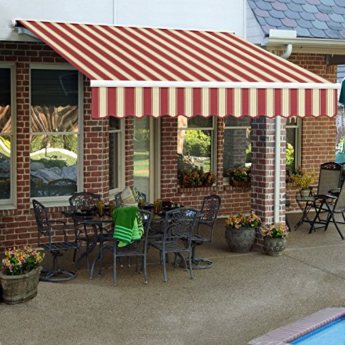 10' Galveston Semi Cassette - Awntech 10-Feet Galveston Semi-Cassette Left Motor with Remote Retractable Awning, 96-Inch Projection, Burgundy/White Multi