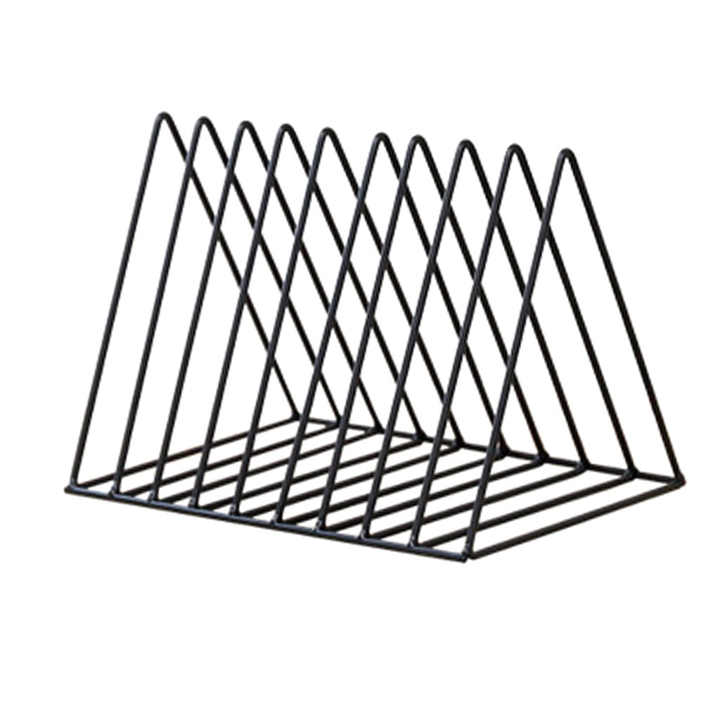 Homyl Modern Style Metal File Organizer Triangle Iron Desktop Storage Rack Bookshelf Magazine Holder - Black, 26x17.8