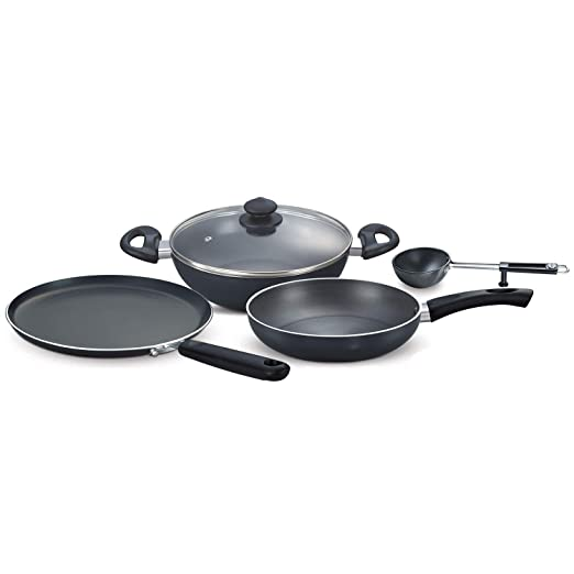 Prestige Hard Anodised Aluminium Magna Cookware Kitchen Essential Set, 4-Pieces, Black Pot & Pan Sets at amazon