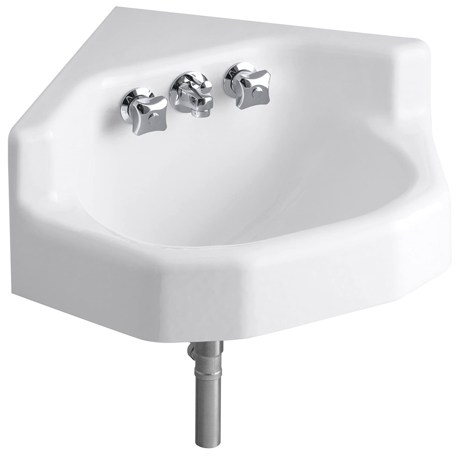 Small wall mounted bathroom sinks - Kohler K 2766 0 Marston Wall Mount Corner Bathroom Sink White Corner Bathroom Sinks Amazon Com