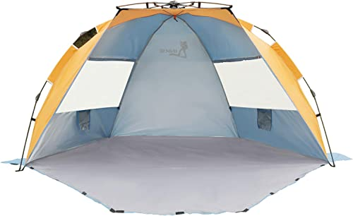 LINKE Beach Tent Sun Shelter, 4 Person Easy Setup Camping Sun Shade Canopy with Carry Bag, XL Size, Orange Blue
