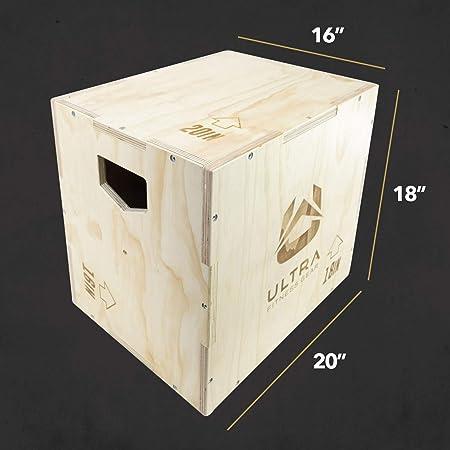 Ultra Fitness Gear 3 en 1 Caja de Madera para Salto, Crossfit, Entrenamiento de Artes Marciales Mixtas (MMA) Plyometrics. Tamaños: 30/24/20, 24/20/16, 20/18/16, o 16/14/12, Wood - Medium 20/18/16: Amazon.es: Deportes y aire libre