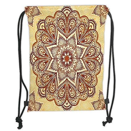 Custom Printed Drawstring Sack Backpacks Bags,Mandala,Floral Mandala Circular Form Pattern Vintage Style Spiritual Symbol Image,Chocolate CreamSoft Satin,5 Liter Capacity,Adjustable String Closure,Th Spiritual Chocolate
