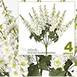 FOUR-26-Delphinium-Artificial-Flower-Bushes-in-Cream-Green-for-home-or-wedding-decoration