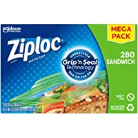 Ziploc Sandwich Bags with New Grip 'n Seal Technology, 280 Count