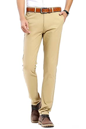 ce8c12799f4 FLY HAWK Mens Breathable Slim Fit Tapered Casual Pants Cotton Work Pants  Apricot Pants