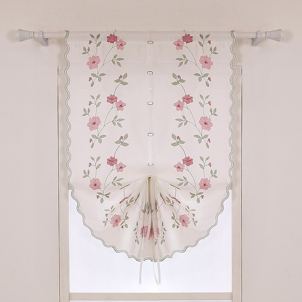 ZHH 1 Panel Polyester Handmade Crochet Flowers Pastoral Style Rustic Tie-Up Balloon Curtain 25-Inch By 57-Inch,Pink