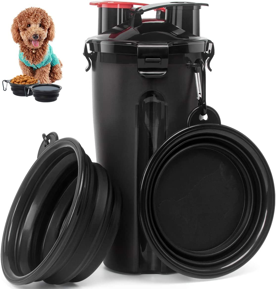 Esing Dog Water Bottles W/Bowls Pet Portable Drinking Bottle Puppy Travel Dispenser Doggie Kettle Kittens Feeding Cup W/Food Container