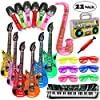 Lewo 22 Pack Chitarra Gonfiabile 6 Chitarre Gonfiabili, 6 Microfoni, 6 Vetri Dell'otturatore, 1 Radio, 1 Piano per… 7 spesavip