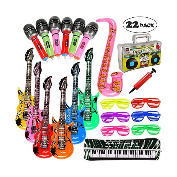 Lewo 22 Pack Chitarra Gonfiabile 6 Chitarre Gonfiabili, 6 Microfoni, 6 Vetri Dell'otturatore, 1 Radio, 1 Piano per Tastiera, 1 Sassofono e 1 Pompa 1 spesavip