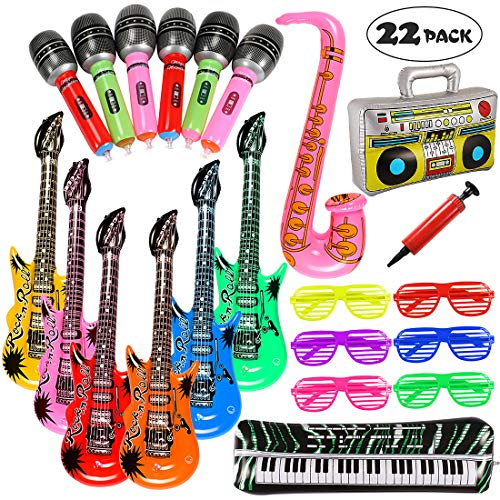 Inflatable Rock Star Toy Set 22 PCS Music Inflatable Instruments Party Props 6 Inflatable Guitars, 6 Inflatable Microphones, 6 Shutter Shading Glasses, 1 Piano , 1 Saxophone, 1 Music Player and 1 Pump