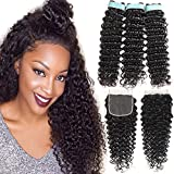 Lace Rosa 9A Brazilian Virgin Hair Deep Wave 3 Bundles with Free Part Closure(24 26 28+20,lace closure)100% Unprocessed Natural Color Can Be Dyed and Bleached
